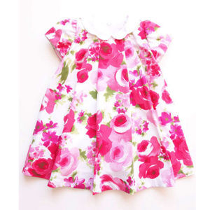 Luli & Me Fuchsia Flower Print Baby Spring Dress